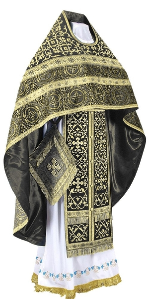 Embroidered Russian Priest vestments - Wattled (black-gold)