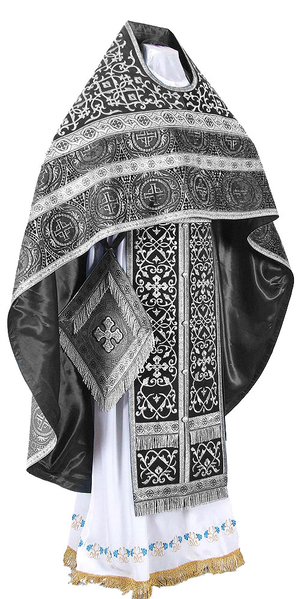 Embroidered Russian Priest vestments - Wattled (black-silver)