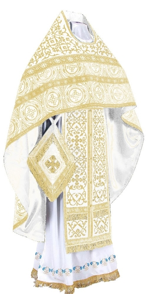 Embroidered Russian Priest vestments - Wattled (white-gold)