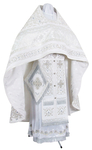 Embroidered Russian Priest vestments - Wattled (white-silver)