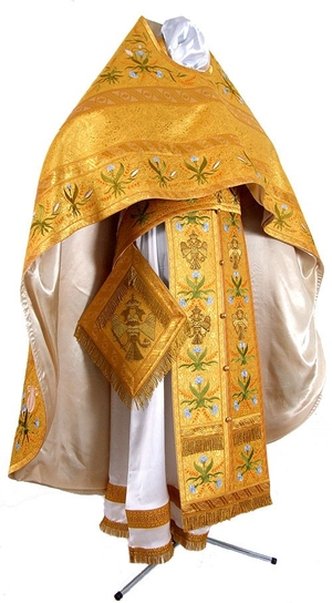 Embroidered Russian Priest vestments - Byzantine Eagle (yellow-gold)