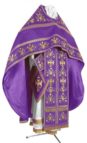 Embroidered Russian Priest vestments - Byzantine Eagle (violet-gold)