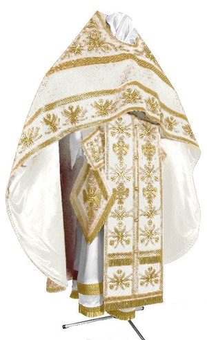 Embroidered Russian Priest vestments - Byzantine Eagle (white-gold)