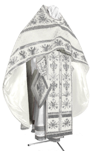 Embroidered Russian Priest vestments - Byzantine Eagle (white-silver)