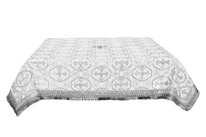 Holy Table cover - brocade B (white-silver)