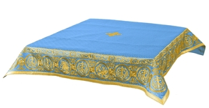 Embroidered Holy table cover Protection of the Theotokos (blue-gold)