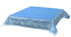 Embroidered Holy table cover Protection of the Theotokos (blue-silver)