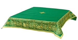 Embroidered Holy table cover Protection of the Theotokos (green-gold)