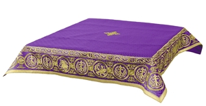 Embroidered Holy table cover Protection of the Theotokos (violet-gold)