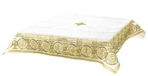 Embroidered Holy table cover Protection of the Theotokos (white-gold)