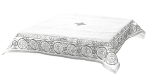 Embroidered Holy table cover Protection of the Theotokos (white-silver)