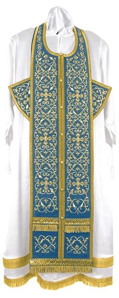 Embroidered Epitrakhilion set - Wattled (blue-gold)