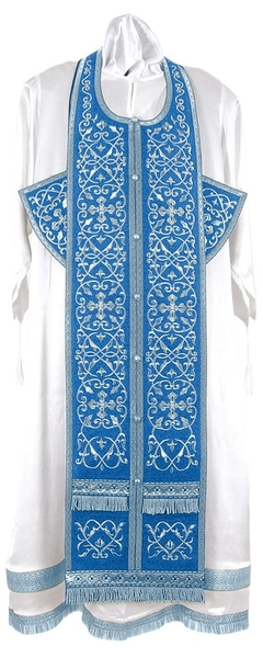 Embroidered Epitrakhilion set - Wattled (blue-silver)