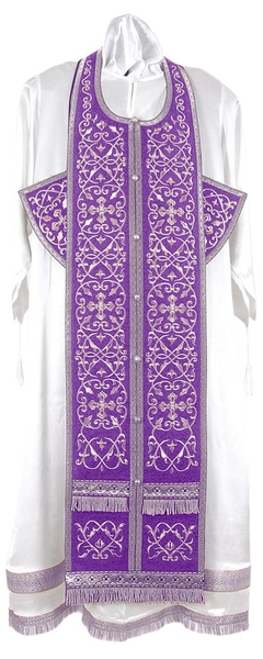 Embroidered Epitrachelion Set - Wattled (Violet-Silver)