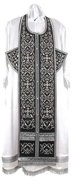 Embroidered Epitrakhilion set - Wattled (black-silver)