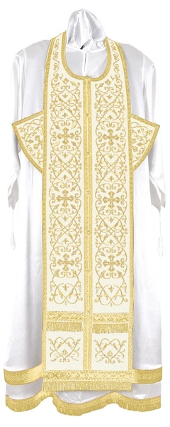 Embroidered Epitrakhilion set - Wattled (white-gold)