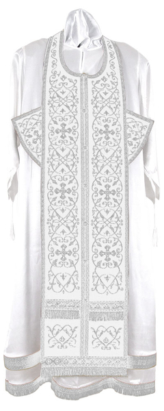 Embroidered Epitrachelion Set - Wattled (White-Silver)