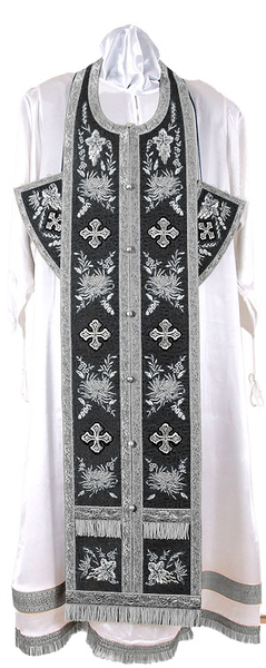 Embroidered Epitrakhilion set - Chrysanthemum (black-silver)