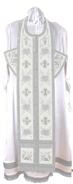 Embroidered Epitrakhilion set - Chrysanthemum (white-silver)