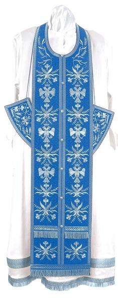 Embroidered Epitrakhilion set - Byzantine Eagle (blue-silver)