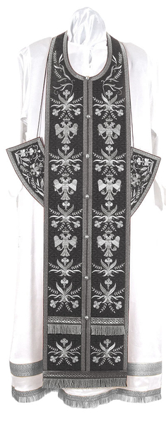 Embroidered Epitrachelion Set - Byzantine Eagle (Black-Silver)