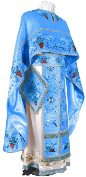 Embroidered Greek Priest vestments - Chrysanthemum (blue-silver)