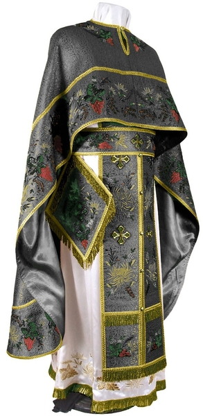 Embroidered Greek Priest vestments - Chrysanthemum (black-gold)