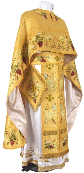 Embroidered Greek Priest vestments - Chrysanthemum (yellow-gold)