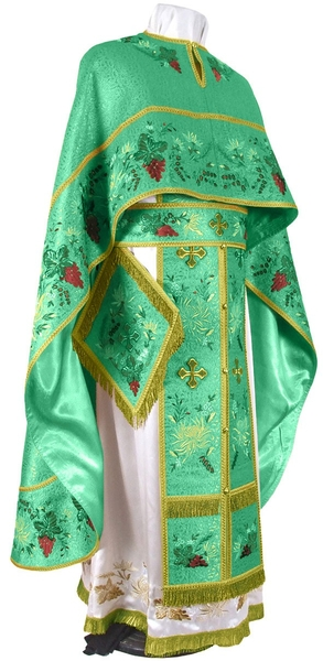 Embroidered Greek Priest vestments - Chrysanthemum (green-gold)