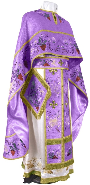 Embroidered Greek Priest vestments - Chrysanthemum (violet-gold)