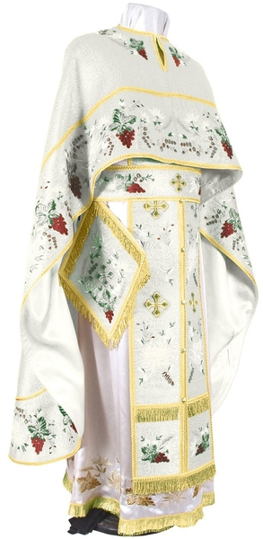 Embroidered Greek Priest vestments - Chrysanthemum (white-gold)