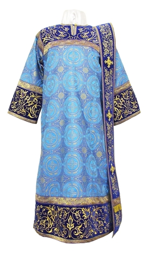 Embroidered Deacon vestments - Iris (blue-gold)