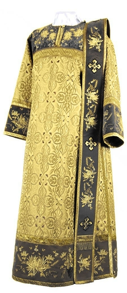 Embroidered Deacon vestments - Chrysanthemum (black-gold)