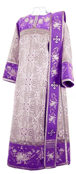 Embroidered Deacon vestments - Chrysanthemum (violet-silver)