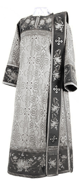Embroidered Deacon vestments - Chrysanthemum (black-silver)