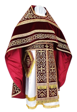 Embroidered Russian Priest vestments - Wattled (claret-gold)