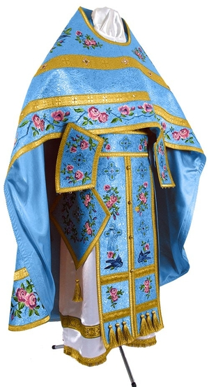Embroidered Russian Priest vestments - Eden Birds (blue-gold)