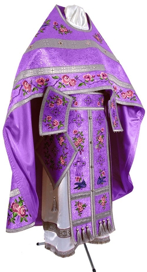 Embroidered Russian Priest vestments - Eden Birds (violet-silver)