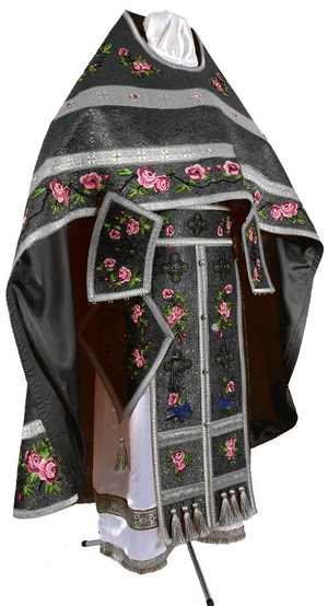 Embroidered Russian Priest vestments - Eden Birds (black-silver)