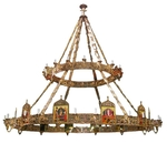 Two-level church chandelier (khoros) with icons
