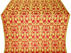 Peacocks metallic brocade (red/gold)