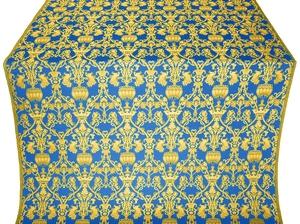 Peacocks silk (rayon brocade) (blue/gold)