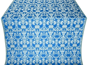 Peacocks silk (rayon brocade) (blue/silver)