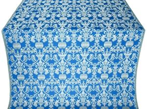 Peacocks silk (rayon brocade) (blue/silver)