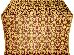 Peacocks silk (rayon brocade) (claret/gold)