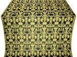 Peacocks silk (rayon brocade) (black/gold)