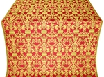 Peacocks silk (rayon brocade) (red/gold)