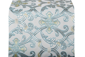 Forged Cross metallic brocade (white/silver with blue)
