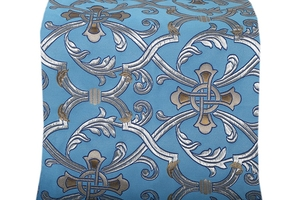 Forged Cross metallic brocade (blue/silver with gold and blue)