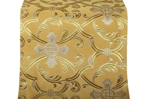Forged Cross metallic brocade (yellow/gold with silver)